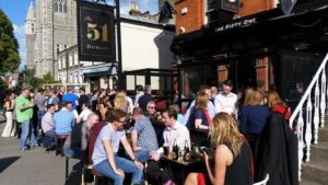 Outside the 51 bar on a summer day.